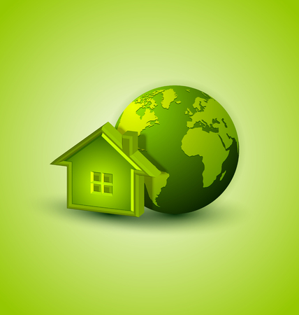 house render: Earth and house icon placed on background Illustration
