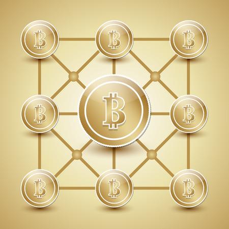 bit: Golden money network made from bit coins Illustration