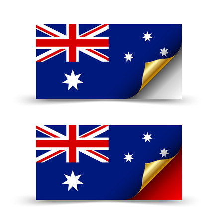 Australian flag with golden curled corner on white background 일러스트