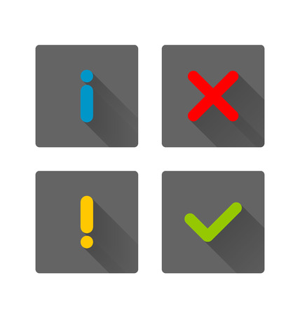 attention icon: Notification icons with long shadow suitable for custom web design and computer purposes