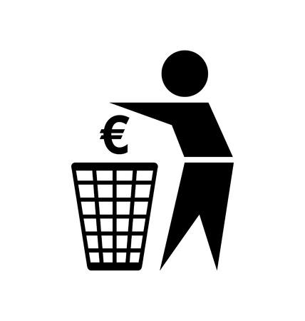 waste money: Do not waste your money icon on white background Illustration