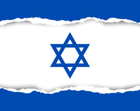 flag of israel: Ripped Israeli flag made of torn papers