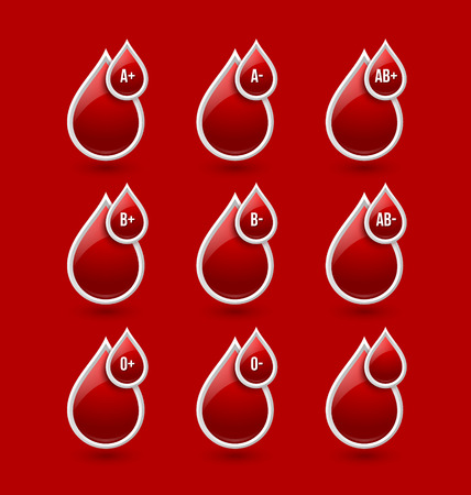 blood type: Red blood type medical icons isolated on red background Illustration