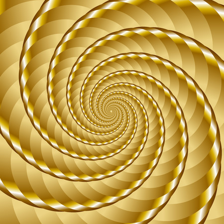 ribbed: Golden twisted and ribbed spiral object with background Illustration