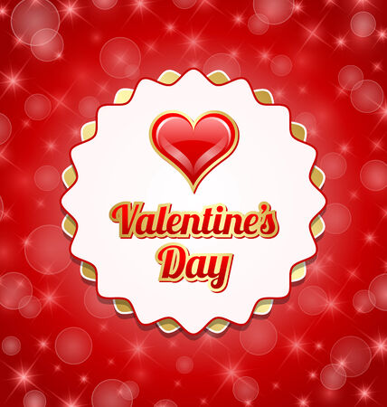 Valentines day badge with glossy heart on red background Vector