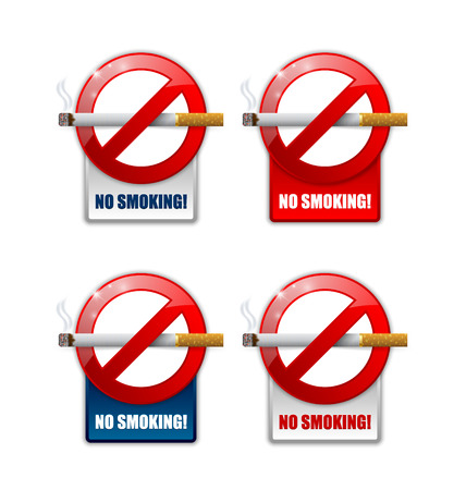 restrictive: No smoking prohibition signs on white background