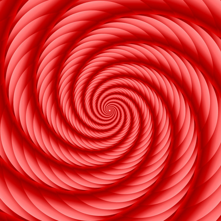 ribbed: Red twisted and ribbed spiral object with background Illustration