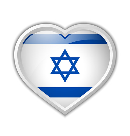 yiddish: Glossy heart made from Israeli flag on white background