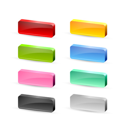 Colorful 3d glossy buttons placed on white background Vector
