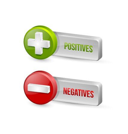 negatives: Positives and negatives buttons isolated on white background Illustration