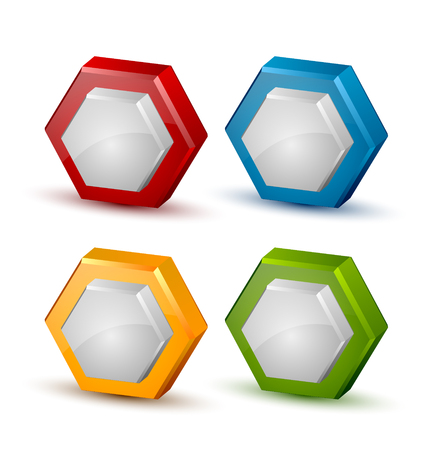 Glossy three dimensional honeycomb icons on white background Illustration