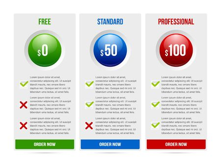 subscription: Easy customizable subscription plan template elements on white background