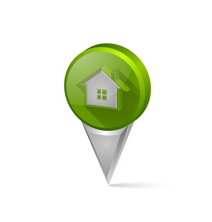tip style design: Three dimensional house pointer on white background Illustration