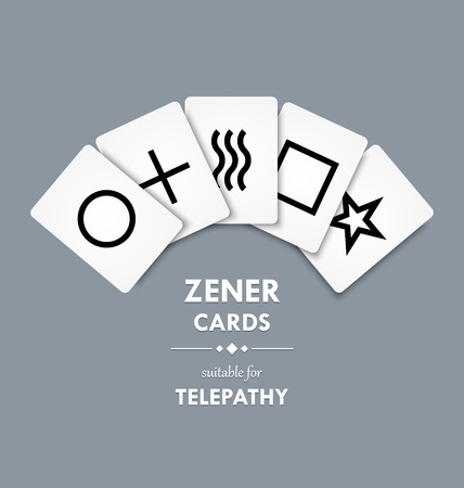 extrasensory: Zener cards suitable for telepathy on grey background