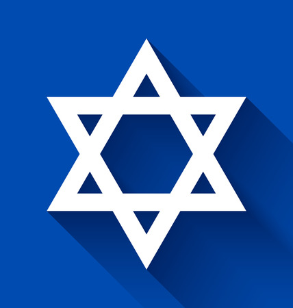 yiddish: White Star of David with long shadow effect on blue background