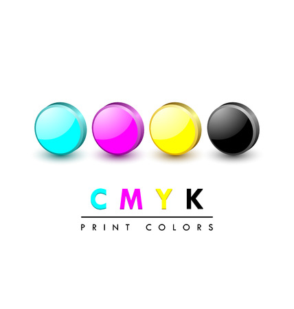 4 color printing: Three dimensional primary cmyk print color icons on white background