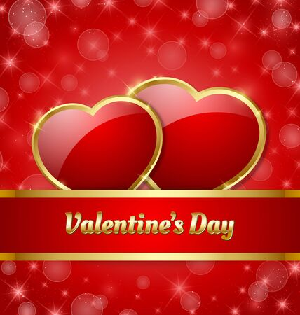 Valentines Day card template with glossy hearts and glittering effect in the background Vector