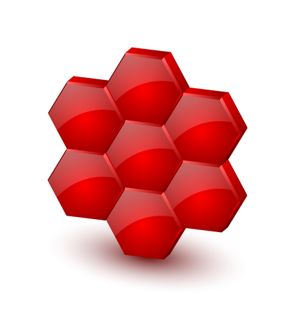Glossy three dimensional honeycomb icon on white background