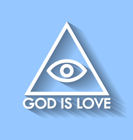gnostic: Eye of God pyramid with lettering on pale blue background Illustration