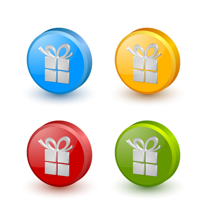 Three dimensional Christmas or birthday gift icons on white background Vector