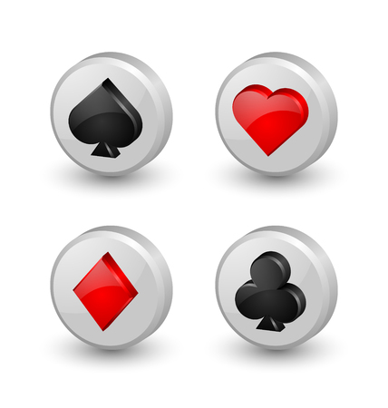 Suit playing card symbol icons on white background