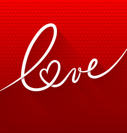 love: Minimalistic continuous line text lettering of word Love on red background with small hearts