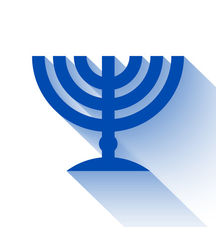 Traditional Jewish menorah candleholder with long shadow effect on white background Vectores