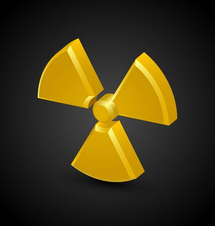 Nuclear symbol isolated on black background
