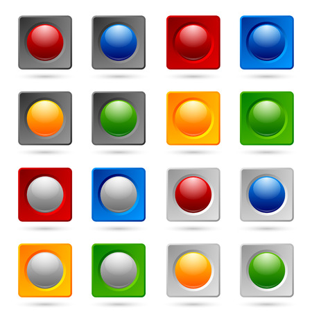 bevel: Colorful icon or button backgrounds suitable for custom design Illustration