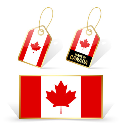 Canadian flag and sale tags on white background Vector