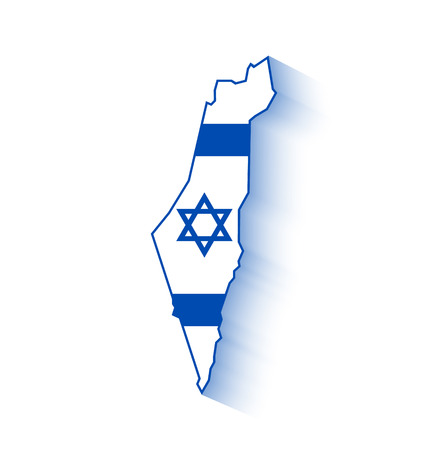 Israel map with Israeli flag inside of shape with long shadow effect on white background