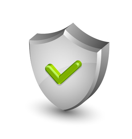 Big and glossy security shield with green check mark on white background Vector