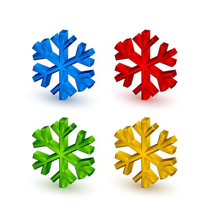 Three dimensional snowflake icons on white background Vector