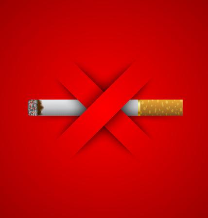 No hay señales de prohibición de fumar puesto en fondo rojo Vectores