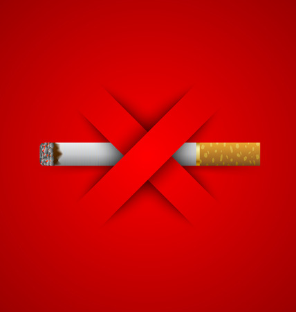 smoking stop: No smoking prohibition sign placed on red background
