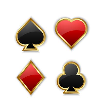 playing card symbols: S�mbolos de la tarjeta del juego de juego en el fondo blanco