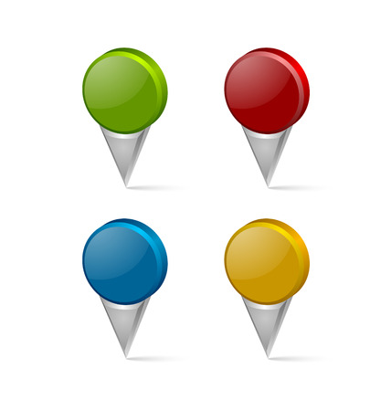 Set of 3d map mark pointers isolated on white background Ilustração