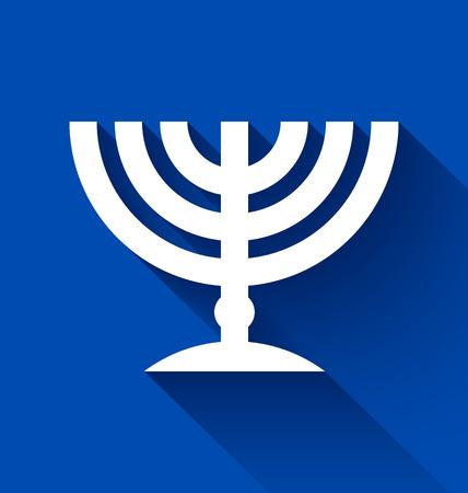 candleholder: Traditional Jewish menorah candleholder with long shadow effect on blue background Illustration