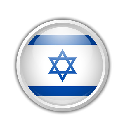 israeli: Glossy badge made from Israeli flag on white background Illustration