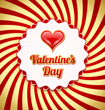 Valentines day badge with glossy heart on twisted red and golden background Vector