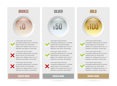 gold standard: Easy customizable subscription plan template elements on white background