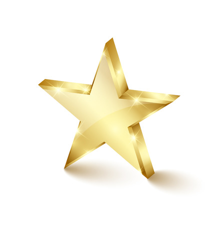 Big and glossy golden star placed on white background Çizim