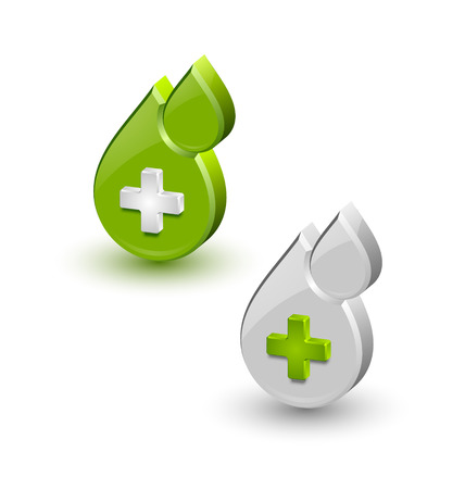 transfuse: Green blood medical icons isolated on white background Illustration
