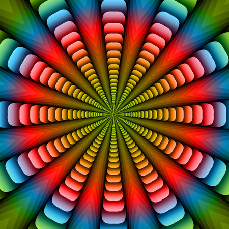 Colorful twisted and ribbed abstract flower background Illustration