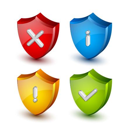 no pase: Iconos de escudo Notificación adecuadas para el diseño web personalizado y propósitos informáticos Vectores