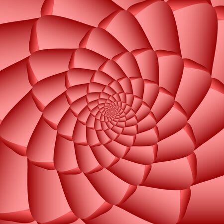 ribbed: Red twisted and ribbed abstract spiral object with background Illustration