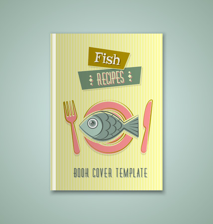 recipe book: Brochure or book cover template on greenish background