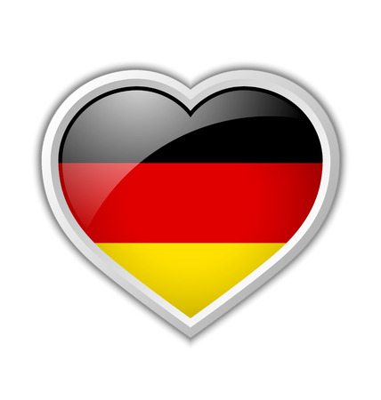 German heart shaped badge or icon with shadow on white background Vector