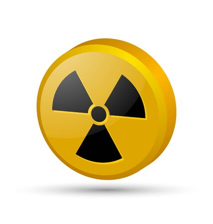 Three dimensional nuclear symbol isolated on white background