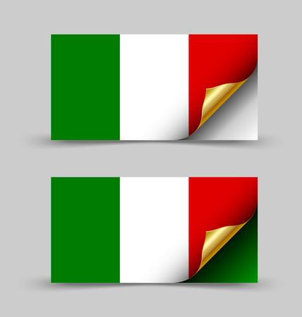 corner flag: Italian flag with golden curled corner on grey background Illustration